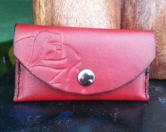 Leather business card holder, Handmade, hand stitched, genuine, burgundy, carved, rose