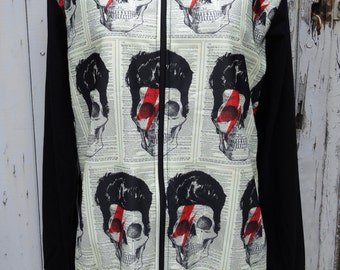 Vintage Bowie Skull Zip Up Top - Men's M/L Jacket Jumper Alternative