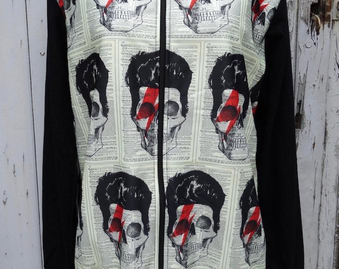 Vintage Bowie Skull Zip Up Top - Men's M/L Jacket Jumper Alternative