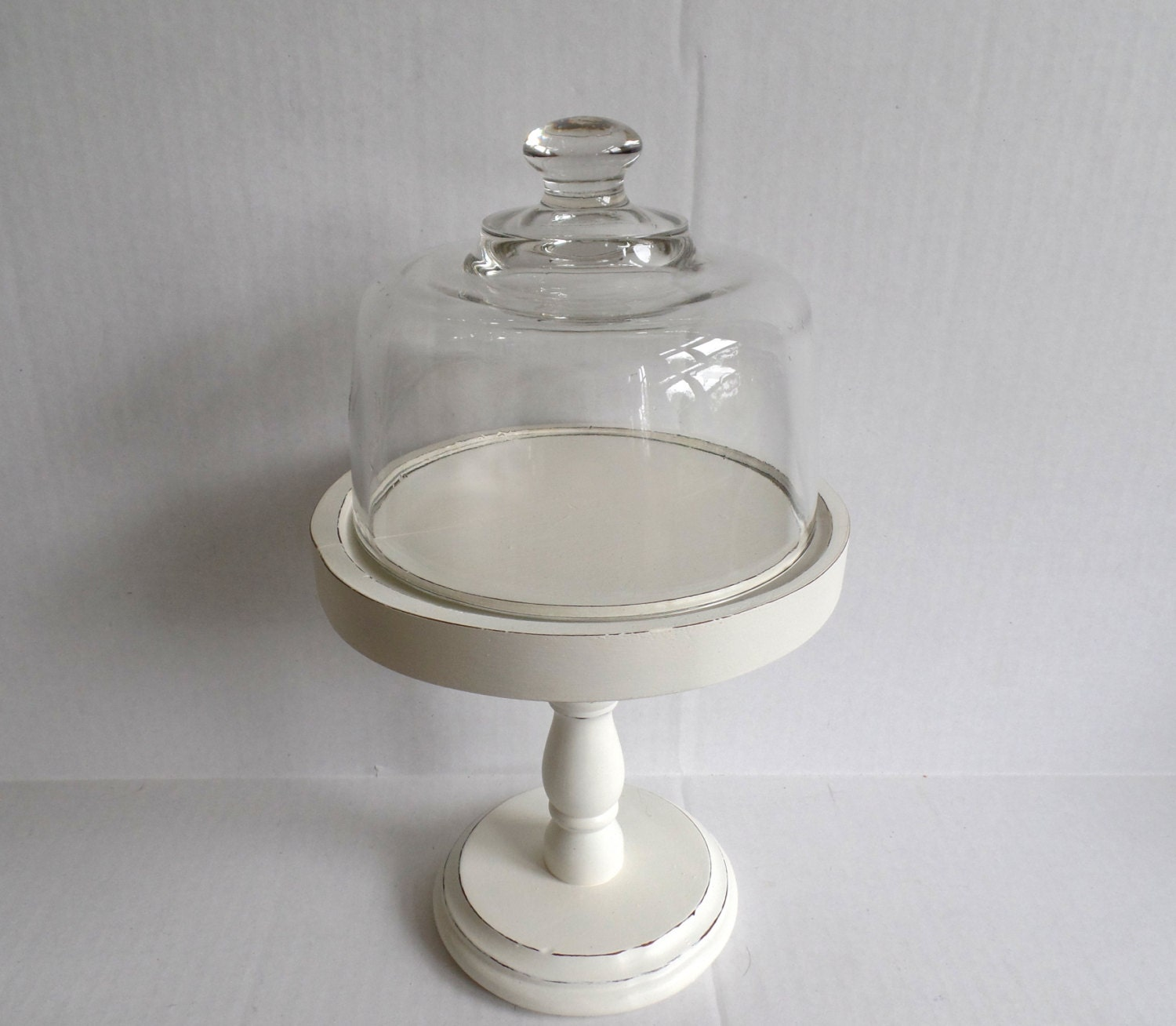 Wood Pedestal Display Cloche Small Cake Or Cupcake Stand