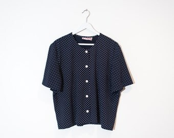 on sale - 80s navy & white polka dot blouse / boxy short sleeve button-up / size XL / XXL