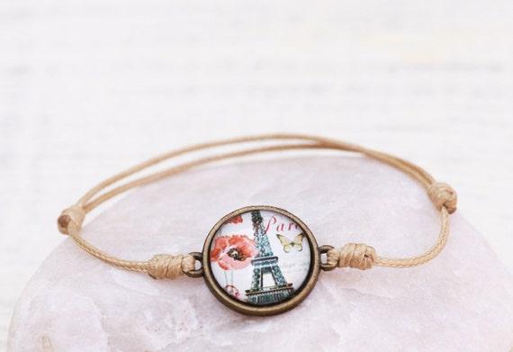 Golden string bracelet, Romantic bracelet, Talisman Amulet bracelet, Friendship Bracelet, Paris Love Romance, Chabby chic jewelry