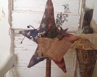 Primitive Patriotic 4th of July Summer Memorial Day Hand Painted Heavily Grunged Star on Old Bobbin with Pleadge of Allegiance Tag