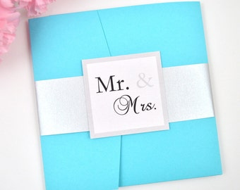 SALE! Tiffany Blue Wedding Invitation, Pocketfold, Modern, Turquoise, Silver, Classy, Elegant, Glam, Mr. & Mrs. Design, Sample