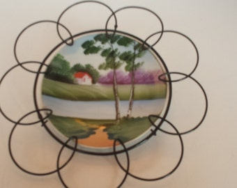 Pastoral Scene Hand Painted Wall Plaque