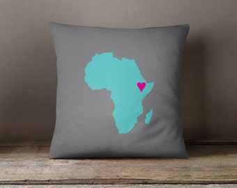 Custom African Map Throw Pillow and Cover-Titanium-Pool-Hot Pink-Customize with ANY Colors-Available in 14x14-16x16-18x18-20x20-14x20-26x26