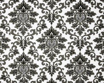 Cecilia Shadow Black Fabric - One Yard - Premier Prints Fabric - Black and White Home Dec Fabric