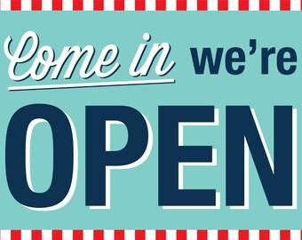 Soda Shop Retro 50s Diner Birthday 12x18 Come In We're OPEN Sign / PRINTABLE / Digital File