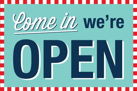 Soda Shop Retro 50s Diner Birthday 12x18 Come In Were OPEN Sign