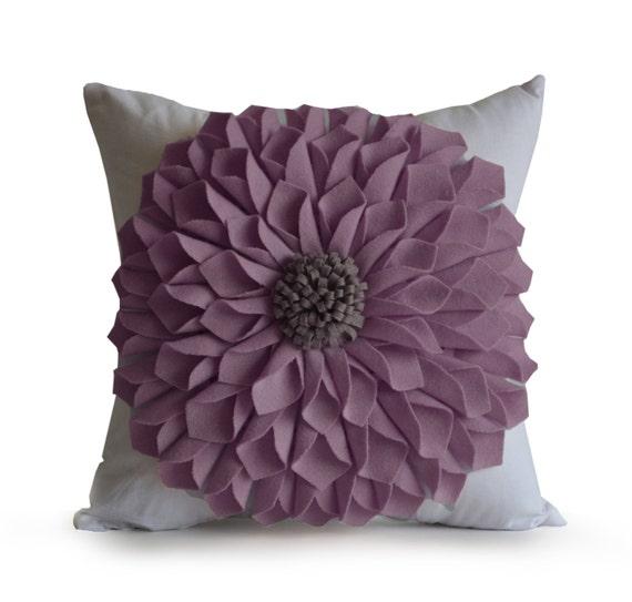 Items similar to Purple Felt Flower Pillow, Dorm Pillow, Light Purple White Pillow Case, Floral ...