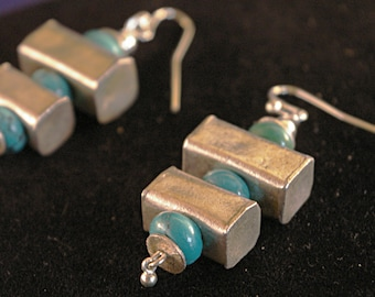 Turquoise with Silver Box Earrings
