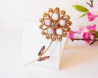 Rhinestone and Bead Brooch, Vintage Jeweled Pin, Lavender Brooch, Sparkly Brooch, Costume Jewelry