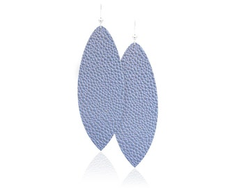 Light Blue Leather Earrings