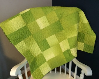 Lime ombre' baby toddler quilt-READY TO SHIP
