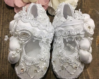 Baby girl baptism shoes White (Claire)