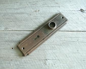 Antique Vintage Door Knob Backplate, Door Hardware, Salvaged Hardware, Keyhole, Architectural Salvage, Restoration, Art Deco, Art Nouveau