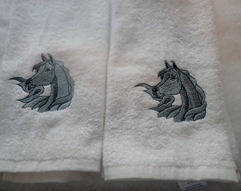 Embroidered Hand Towels, Horses Head, Arabian Horses Head, Arabian Horse, Proud Horse, Whimsical Horse, Gray Horse, Beautiful Horse