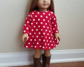 Red with White dots Trapeze Dress for 18 inch dolls by The Glam Doll