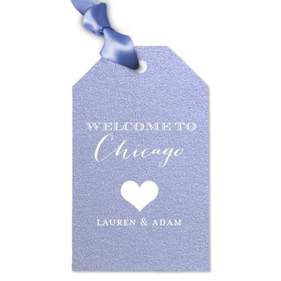 Welcome to {city} Custom Wedding Gift/Bag Tags foil bag tags with ...