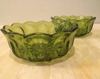 Green Thumbprint Bowl Set Indiana Glass Kings Crown
