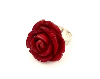 Hand carved coral rose ring size 7