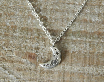 Moon Pendant, Moon Charm Necklace, Silver Moon Necklace, Crescent Moon Charm Necklace, Stars And Moon Necklace