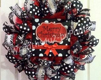 Christmas Wreath/ Christmas Deco Mesh Wreath/ Present Wreath/ Merry Christmas Wreath/ Christmas Door Decor/