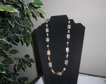 "Necklace 22"" long ""EARTH TONE BEADS"" #289"