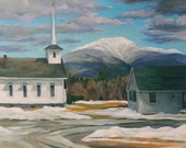 Franconia Village in Winter Framed Oil Painting