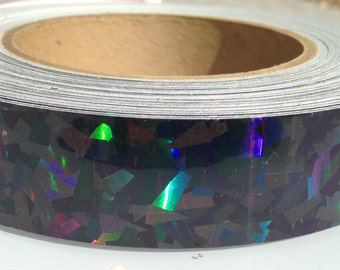 "1"" Black Kaleidoscope Metallic Hula Hoop Tape"