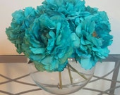"Custom Order for Katie, 6 Turquoise Peonies in 8"" Glass Bowl with Acrylic Water"