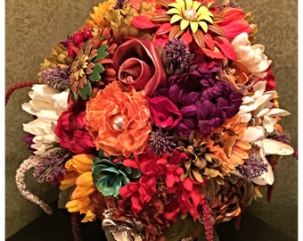 Ooak handmade fall, Autumn Table Centerpiece, recycled vintage jewelry and Brooch Faux Flower arrangement, Vintage Brooch Bouquet