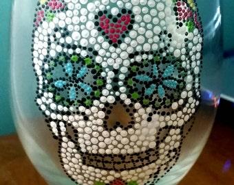 Skull Wine Glass; Sugar Skull Wine Glass; Day of the Dead Glass