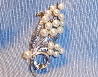 Vintage Large Fancy Sterling Silver Eighteen Pearl Brooch