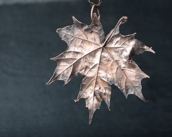 leaf necklace womens gift botanical jewelry electroplated maple leaf necklace copper electroformed pendant nature jewelry Christmas Gift