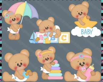 Cute Baby Bear, Teddy Bear, Nursery, Baby Shower - Instant Download - Commercial Use Digital Clipart Elements Set