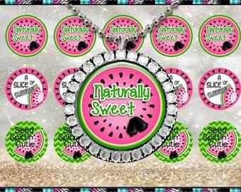 "Naturally Sweet Watermelon Pink 2241 - INSTANT DIGITAL DOWNLOAD - 1"" Bottlecap Craft Images (4x6) Digital Collage Sheet"