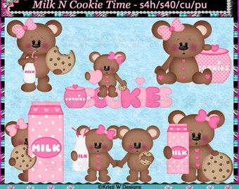 Milk N Cookies Bears Pink - Digital Clip Art Set - INSTANT DOWNLOAD - Clipart Graphics Elements Commercial Use