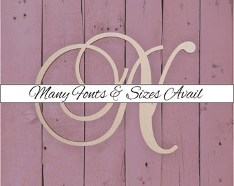 """Wooden Monogram Letter """"N"""" - Large or Small, Unfinished, Cursive Wooden Letter - Perfect for Crafts, DIY, Weddings - Sizes 1"""" to 42"""""""