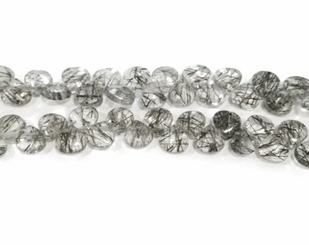 Petite black tourmalated quartz faceted briolettes.  Approx. 4.75x4.75mm - 5x5mm.  Select a quantity.
