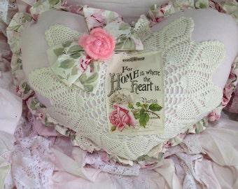 ruffled heart pillow