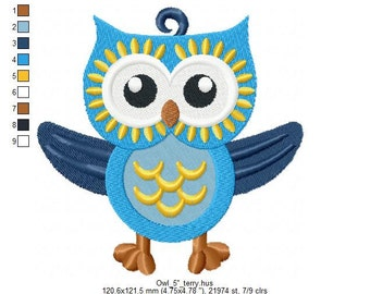 Owl Embroidery design. Design for embroidery machine. 4x4 and 5x7 hoop . All formats. For terry and ordinary fabric.