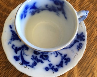 Flow Blue Ridgeway Flow Blue Demitasse  Cup & Saucer England