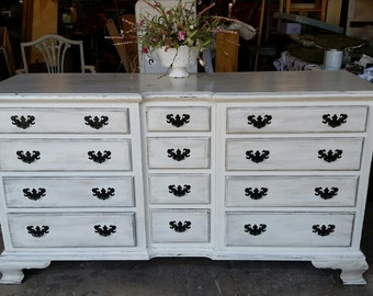 SOLD--------White Shabby Chic Buffet or T.V. Stand or Dresser- Rustic - Distressed