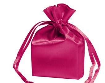 Medium Hot Pink Satin Gift Bag