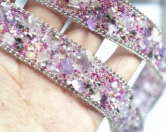 Diamante Beaded Lace Trim, Full Gem Trim for Bridal Belt , Wedding Sash