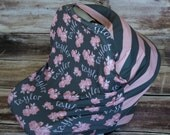 Personalized CAR SEAT Multi-Use cover- Vintage Floral/Large Stripes