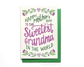 Grandma Mothers Day Card Floral - Sweetest Grandma in the World - Mothers Day Card Unique - Grandma Card - MD22