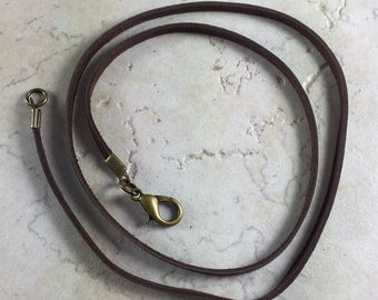 "20"" or 18"" or 16""  Brown Deerskin Leather Necklace with Bronze Clasp"