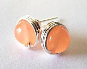 Jade Earrings, Peach Earrings, Salmon Earrings, Peach Jade Earrings, Cute Earrings, Everyday Earrings, Coral Wedding Jewelry, Silver Stud